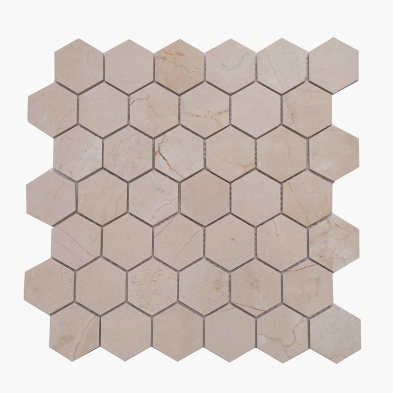 2″ Hexagon Crema Marfil
