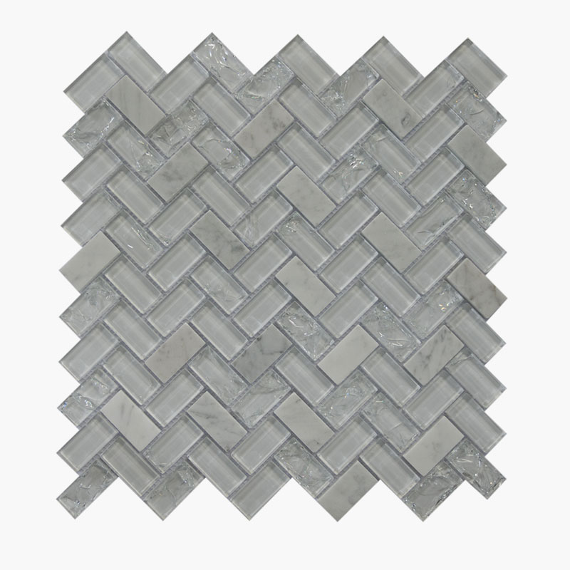 Large Herringbone White Ice