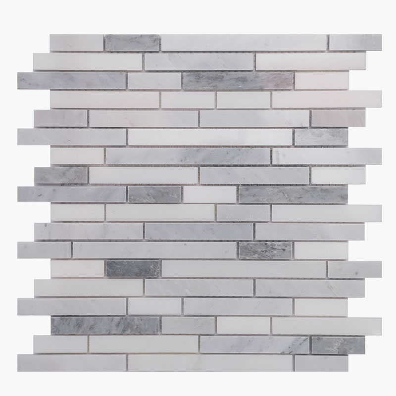 5/8 Random Strips O White with Grey