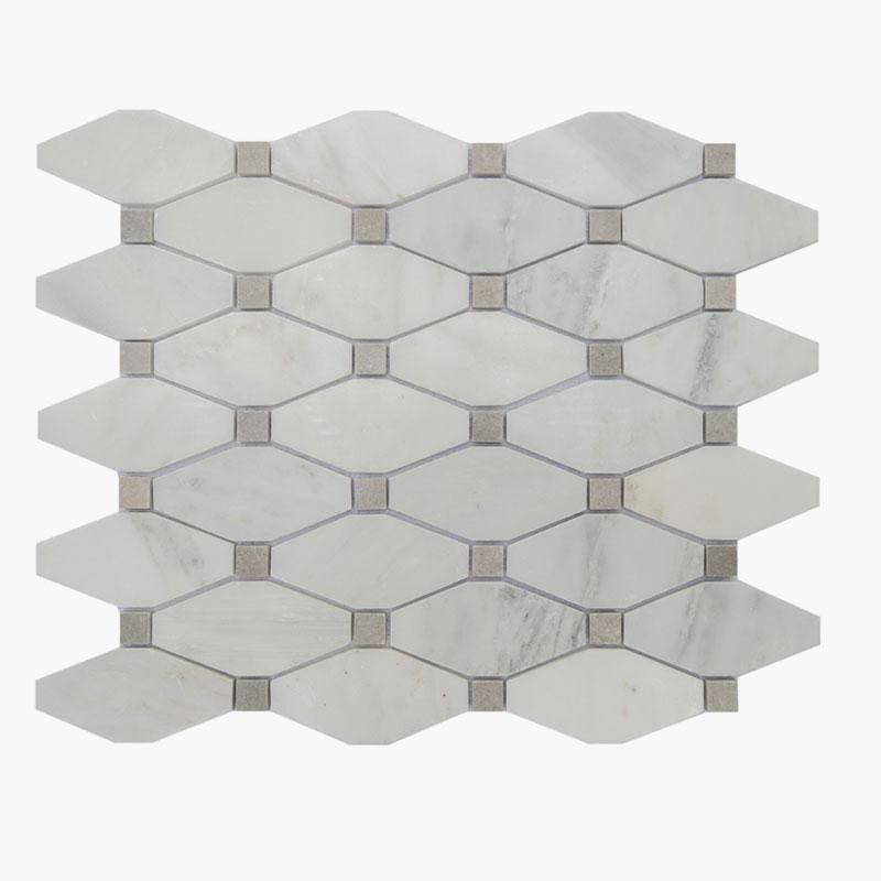 Long Octagon O White w/ Grey Dot
