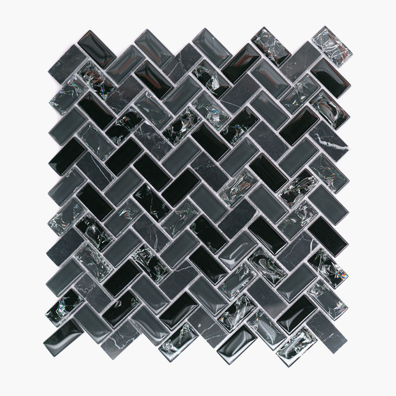 Large Herringbone Smokey Black