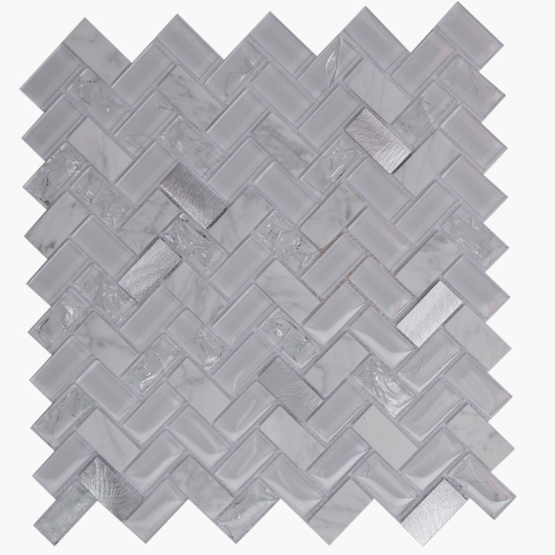 Large Herringbone White Alloy